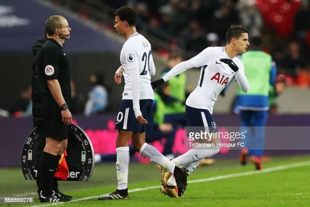Erik Lamela of Tottenham Hotspur comes on for Dele Alli of Tottenham Hotspur during the Premier League match between Tottenham Hotspur and Stoke City...