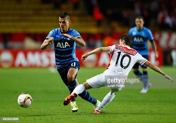 Erik Lamela of Tottenham Hotspur is tackled by Bernardo Silva of Monaco during the UEFA Europa League group J match between AS Monaco FC and...