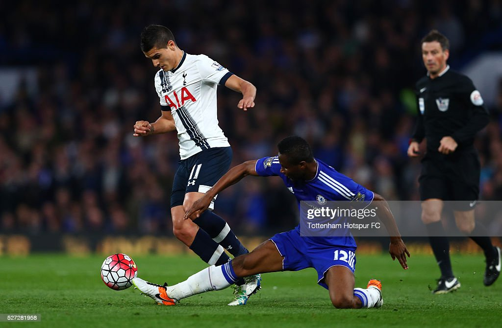 Erik Lamela of Tottenham Hotspur is tackled by John Mikel Obi of Chelsea during the Barclays Premier League match between Chelsea and Tottenham Hotspur at Stamford Bridge on May 02, 2016 in London, England.