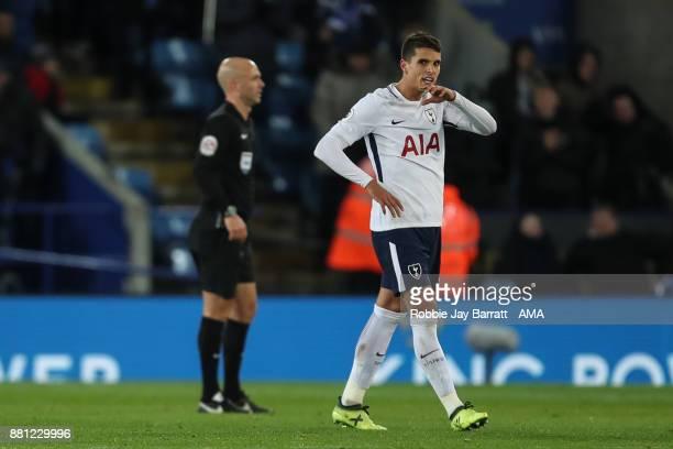 Erik Lamela of Tottenham Hotspur reacts at full time during the Premier League match between Leicester City and Tottenham Hotspur at The King Power...