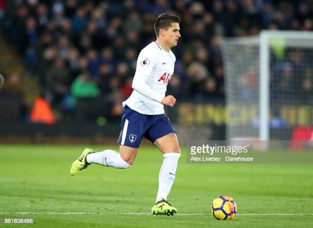 Erik Lamela of Tottenham Hotspur runs with the ball during the Premier League match between Leicester City and Tottenham Hotspur at The King Power...