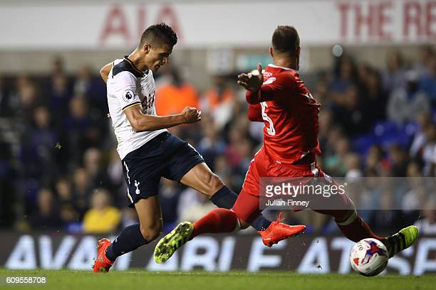 Erik Lamela of Tottenham Hotspur scores his sides fifth goal during the EFL Cup Third Round match between Tottenham Hotspur and Gillingham at White...