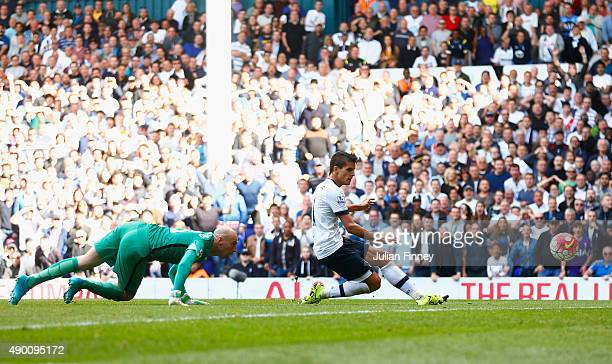 Erik Lamela of Tottenham Hotspur scores his team's fourth goal during the Barclays Premier League match between Tottenham Hotspur and Manchester City...