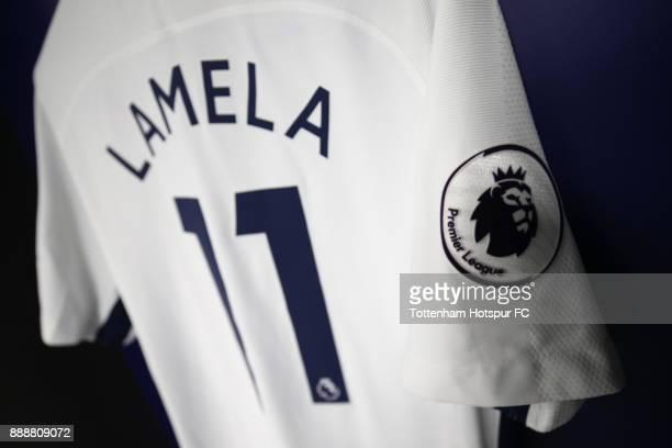 Erik Lamela of Tottenham Hotspur shirt hangs in the Tottenham Hotspur changing room prior to the Premier League match between Tottenham Hotspur and...