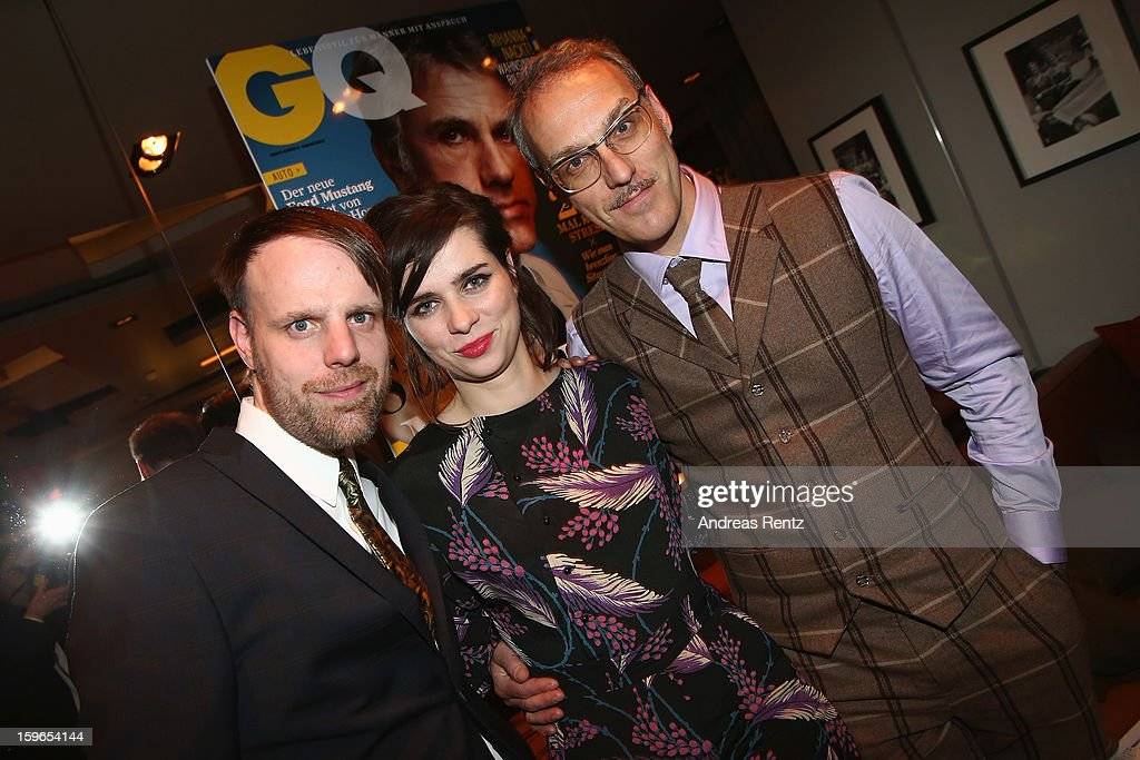 Erik Lautenschlaeger, Nora Tschirner and Tom Krimi of the german band 'Prag'attend GQ Best Dressed cocktail at Das Stue hotel on January 17, 2013 in Berlin, Germany.