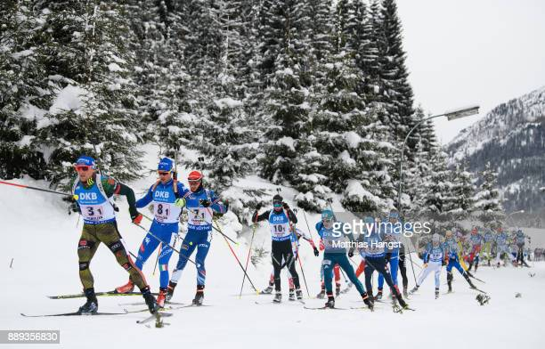 Erik Lesser of Germany leads the field during the Men's 4x75km relay competition of the BMW IBU World Cup Biathlon on December 10 2017 in Hochfilzen...
