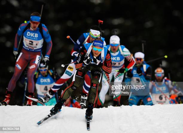 Erik Lesser of Germany leads the pack off the start during the Men's 4x 75km relay competition of the IBU World Championships Biathlon 2017 at the...