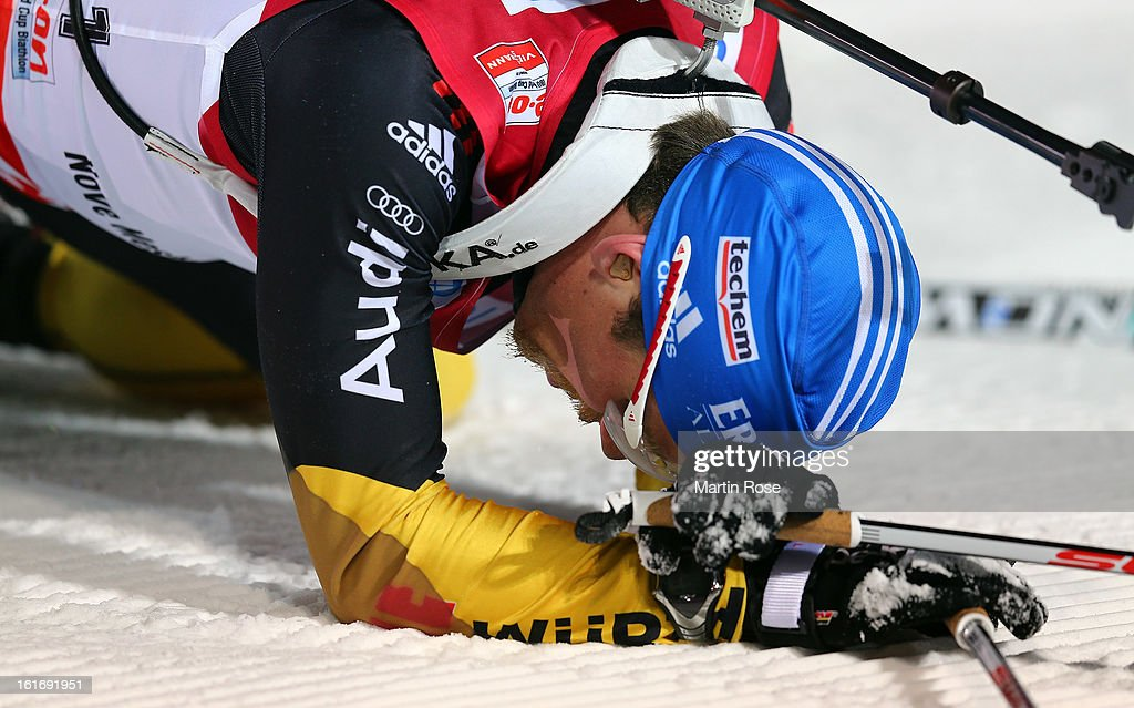 Erik Lesser of Germany reacts after he cross the finish line in the Men's 20km Individual during the IBU Biathlon World Championships at Vysocina Arena on February 14, 2013 in Nove Mesto na Morave, Czech Republic.