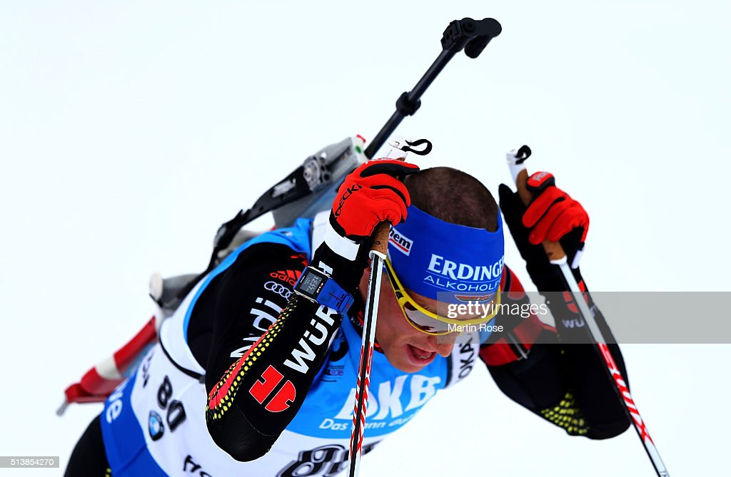 <a gi-track='captionPersonalityLinkClicked' href=/galleries/search?phrase=Erik+Lesser&family=editorial&specificpeople=6837118 ng-click='$event.stopPropagation()'>Erik Lesser</a> of Germany reacts after he crosses the finish line during the men's 10km sprint during day three of the IBU Biathlon World Championships at Holmenkollen on March 5, 2016 in Oslo, Norway.
