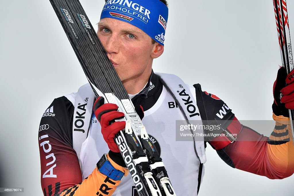 <a gi-track='captionPersonalityLinkClicked' href=/galleries/search?phrase=Erik+Lesser&family=editorial&specificpeople=6837118 ng-click='$event.stopPropagation()'>Erik Lesser</a> of Germany takes 1st place during the IBU Biathlon World Championships Men's and Women's Pursuit on March 08, 2015 in Kontiolahti, Finland.
