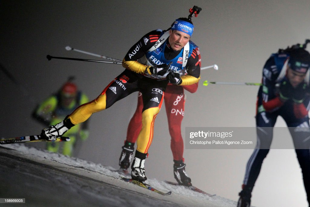 Erik Lesser of Germany takes 3rd place during the IBU Biathlon World Cup Men's Relay on January 04, 2013 in Oberhof, Germany.