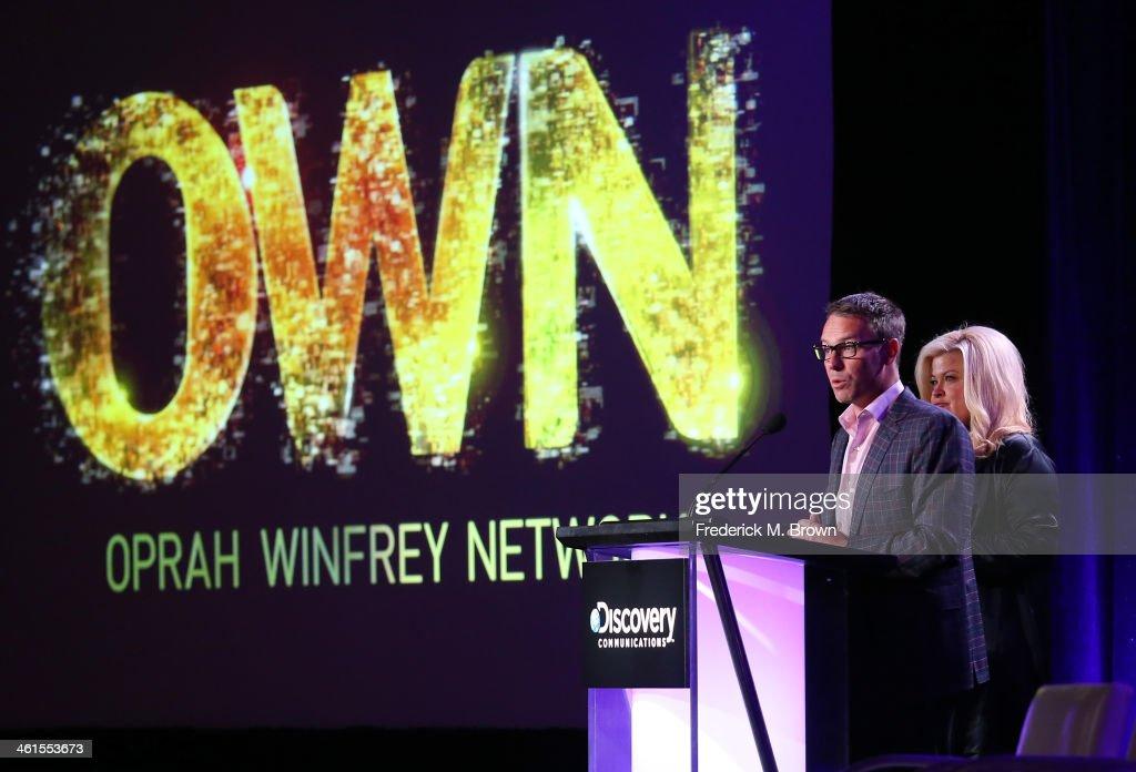Erik Logan President OWN and Sheri Salata President OWN speak onstage during the 'OWN Oprah Winfrey Network Deion's Family Playbook' panel discussion...