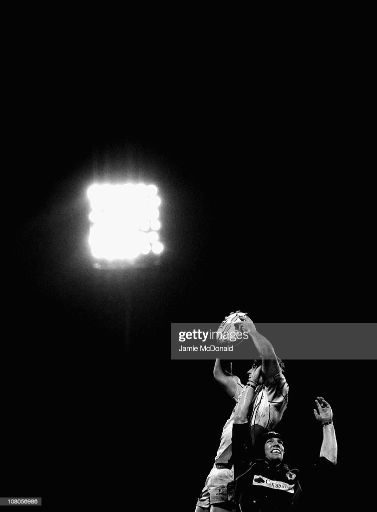 Erik Lund of Ulster jumps jumps in the line out with Magnus Lund of Biarritz during the Heineken Cup match between Ulster and Biarritz at Ravenhill...