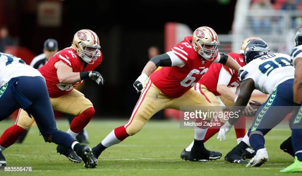 Erik Magnuson and Brandon Fusco of the San Francisco 49ers block during the game against the Seattle Seahawks at Levi's Stadium on November 26 2017...
