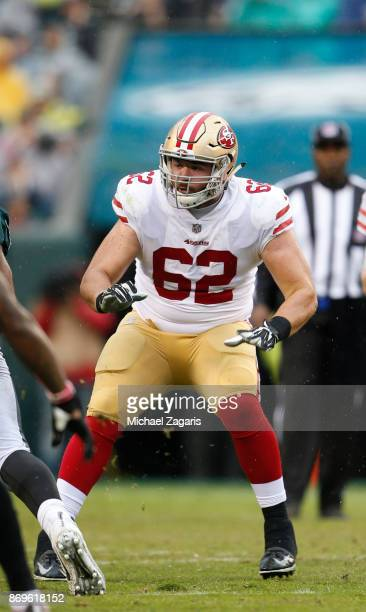 Erik Magnuson of the San Francisco 49ers blocks during the game against the Philadelphia Eagles at Lincoln Financial Field on October 29 2017 in...