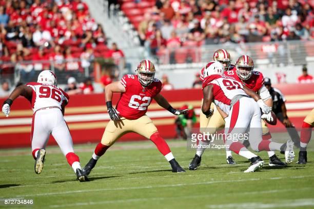 Erik Magnuson of the San Francisco 49ers blocks during the game against the Arizona Cardinals at Levi's Stadium on November 5 2017 in Santa Clara...