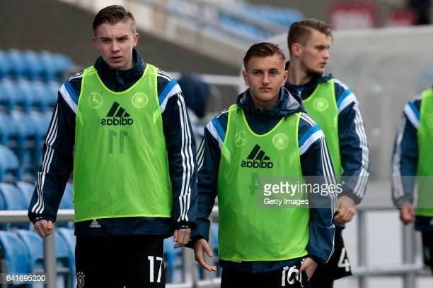 Erik Majetschak and Alexander Lungwitz of Germany U17 during the U17 Algarve Cup Tournament Match between England U17 and Germany U17 on February 12...