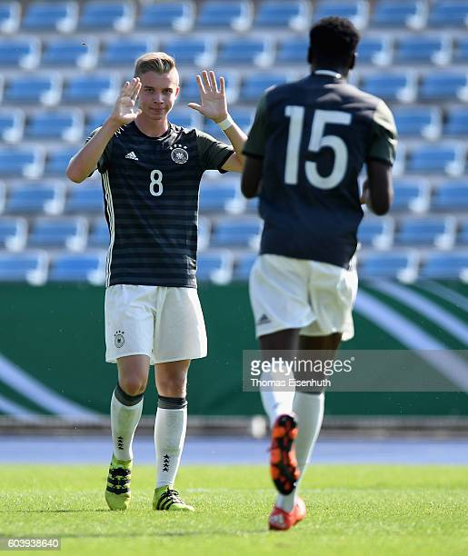 Erik Majetschak and CharlesJesaja Herrmann of Germany celebrate during the Under 17 four nations tournament match between U17 Germany and U17 Israel...