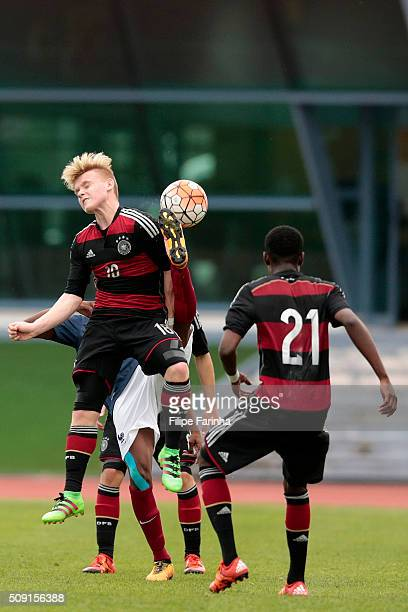 Erik Majetschak and CharlesJesaja Herrmann of Germany during the UEFA Under16 match between U16 France v U16 Germany on February 6 2016 in Vila Real...