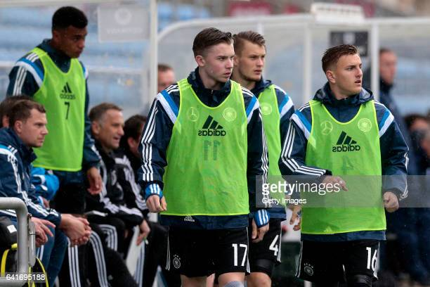 Erik Majetschak Lars Lukas Mai and Alexander Lungwitz of Germany U17 during the U17 Algarve Cup Tournament Match between England U17 and Germany U17...