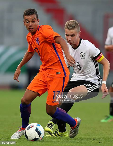 Erik Majetschak of Germany and Daniel van Kaam of Netherlands vie during the Under 17 four nations tournament match between U17 Germany and U17...
