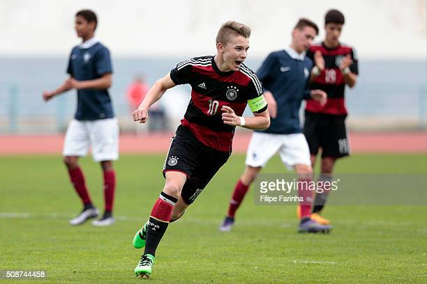 Erik Majetschak of Germany celebrates a goal during the UEFA Under16 match between U16 France v U16 Germany on February 6 2016 in Vila Real de Santo...