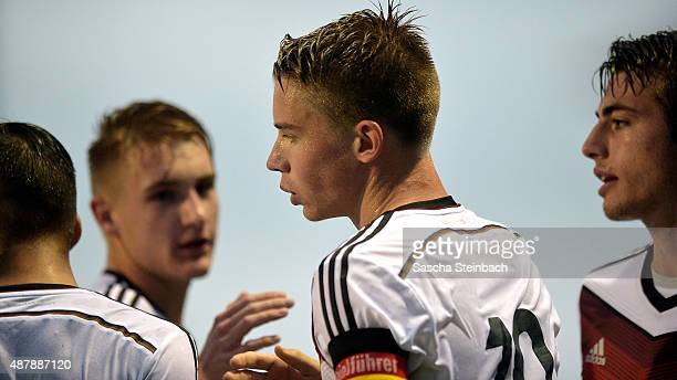Erik Majetschak of Germany celebrates after scoring the opening goal during the U16 international friendly match between Belgium and Germany on...