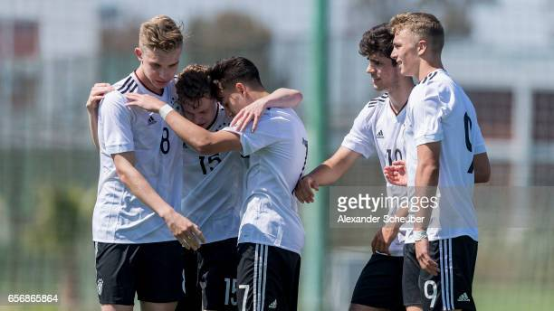 Erik Majetschak of Germany celebrates his goal with his teammates during the UEFA U17 elite round match between Germany and Armenia on March 23 2017...
