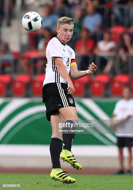 Erik Majetschak of Germany heads the ball during the Under 17 four nations tournament match between U17 Germany and U17 Netherlands at Steigerwald...