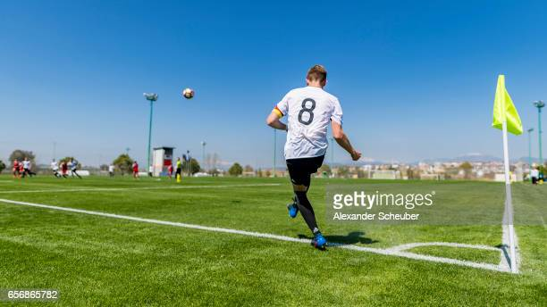 Erik Majetschak of Germany kicks a corner during the UEFA U17 elite round match between Germany and Armenia on March 23 2017 in Manavgat Turkey