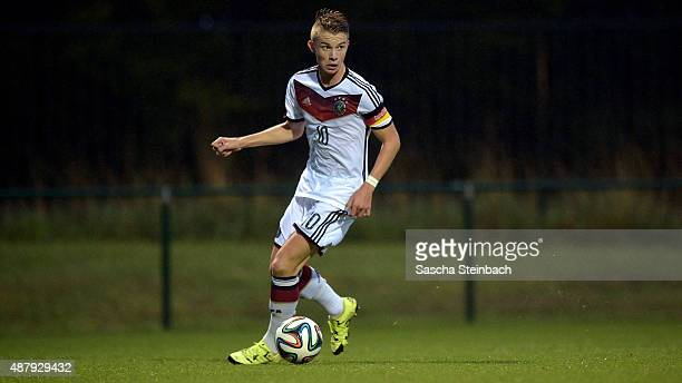 Erik Majetschak of Germany runs with the ball during the U16 international friendly match between Belgium and Germany on September 12 2015 in Tubize...