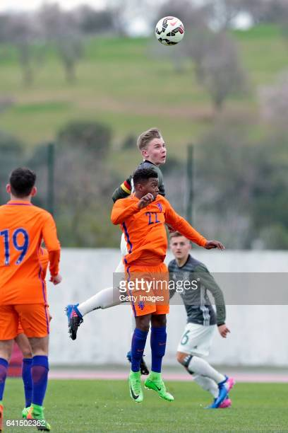 Erik Majetschak of Germany U17 challenges Daishawn Redan of Netherlands U17 during the 40º Algarve International Tournament U17 Match between...