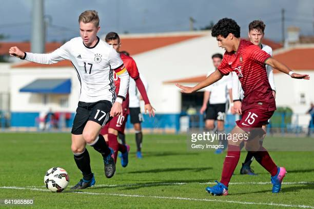 Erik Majetschak of Germany U17 challenges João Oliveira of Portugal U17 during the U17 Algarve Cup Tournament Match between Portugal U17 and germany...