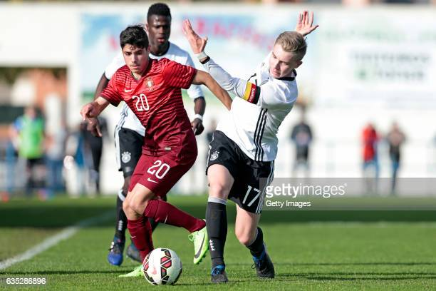 Erik Majetschak of Germany U17 challenges Pedro Neto of Portugal U17 during the U17 Algarve Cup Tournament Match between Portugal U17 and Germany U17...
