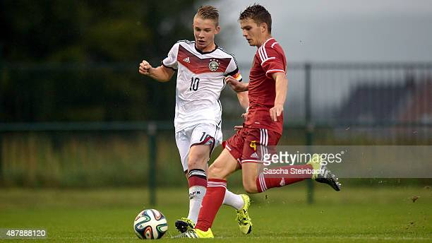 Erik Majetschak of Germany vies with Jerko Guldix of Belgium during the U16 international friendly match between Belgium and Germany on September 12...