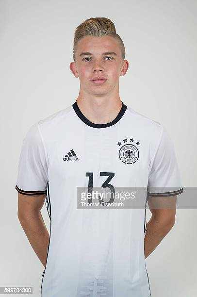 Erik Majetschak of the Germany national U17 team poses during the team presentation on September 6 2016 in Jena Germany
