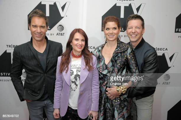 Erik McCormack Megan Mullally Debra Messing and Sean Hayes attend the 'Will Grace' celebration during Tribeca TV Festival at Cinepolis Chelsea on...