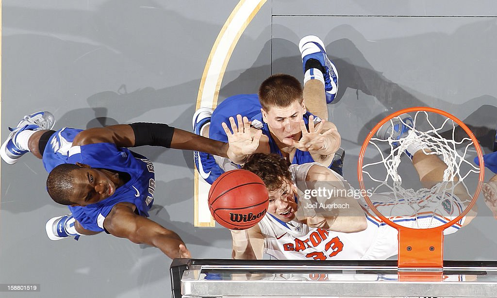 Erik Murphy #33 of the Florida Gators scores against the Air Force Falcons at the MetroPCS Orange Bowl Basketball Classic on December 29, 2012 at the BB&T Center in Sunrise, Florida. The Gators defeated the Falcons 78-61.