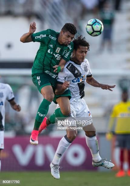 Erik of Palmeiras battles for the ball with Elton of Ponte Preta during the match between Ponte Preta and Palmeiras as a part of Campeonato...