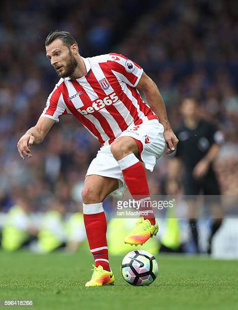 Erik Pieters of Stoke City controls the ball during the Premier League match between Everton and Stoke City at Goodison Park on August 27 2016 in...