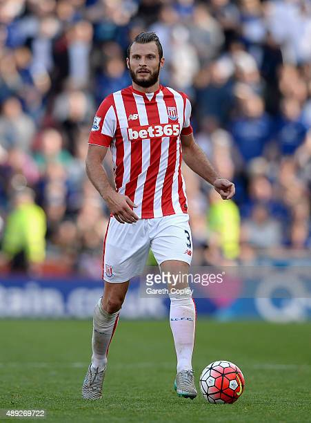 Erik Pieters of Stoke City during the Barclays Premier League match between Stoke City and Leicester City on September 19 2015 in Stoke on Trent...