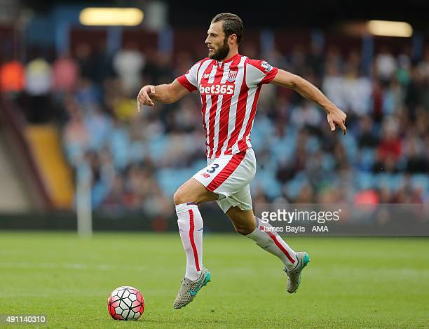 Erik Pieters of Stoke City during the Barclays Premier League match between Aston Villa and Stoke City at Villa Park on October 03 2015 in Birmingham...
