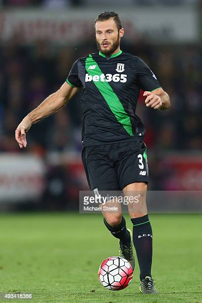 Erik Pieters of Stoke City during the Barclays Premier League match between Swansea City and Stoke City at the Liberty Stadium on October 19 2015 in...