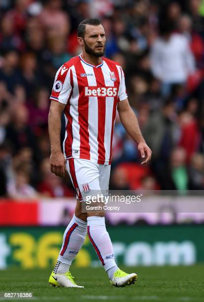 Erik Pieters of Stoke City during the Premier League match between Stoke City and Arsenal at Bet365 Stadium on May 13 2017 in Stoke on Trent England