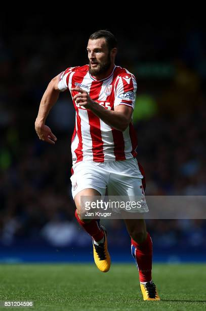 Erik Pieters of Stoke City during the Premier League match between Everton and Stoke City at Goodison Park on August 12 2017 in Liverpool England