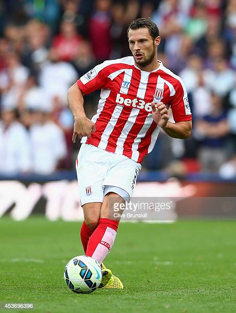 Erik Pieters of Stoke City in action during the Barclays Premier League match between Stoke City and Aston Villa at Britannia Stadium on August 16...