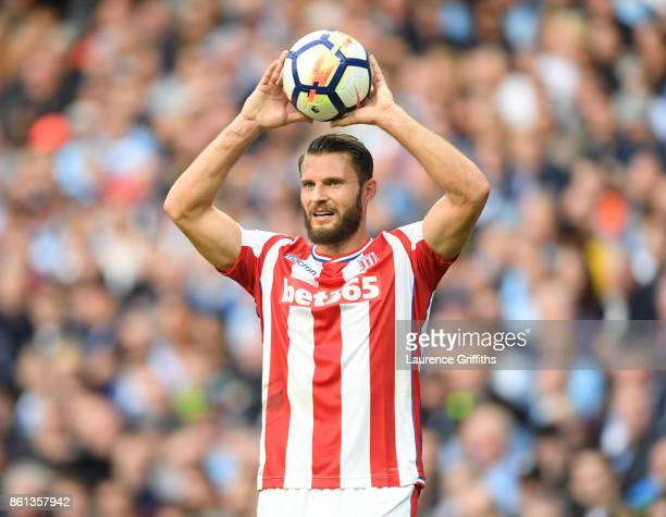 Erik Pieters of Stoke City looks on during the Premier League match between Manchester City and Stoke City at Etihad Stadium on October 14 2017 in...