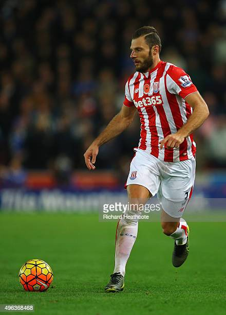 Erik Pieters of Stoke in action during the Barclays Premier League match between Stoke City and Chelsea at the Britannia Stadium on November 7 2015...