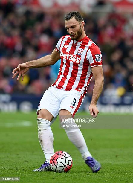 Erik Pieters of Stoke in action during the Barclays Premier League match between Stoke City and Southampton at the Britannia Stadium on March 12 2016...