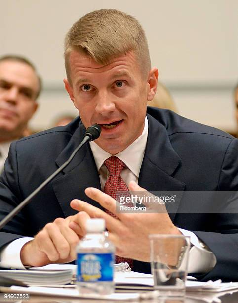 Erik Prince chairman of Blackwater USA testifies at a House Oversight and Government Reform Committee hearing in Washington DC US on Tuesday Oct 2...